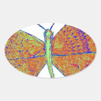 Borboleta do coração de Neverland Adesivos Oval