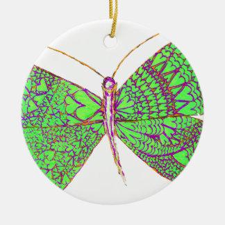 Borboleta do coração ornamento de cerâmica redondo