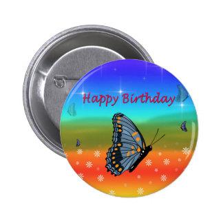 Borboleta do feliz aniversario bóton redondo 5.08cm