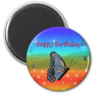 Borboleta do feliz aniversario ímã redondo 5.08cm