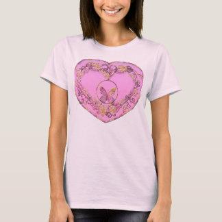 Borboleta e coração, camiseta