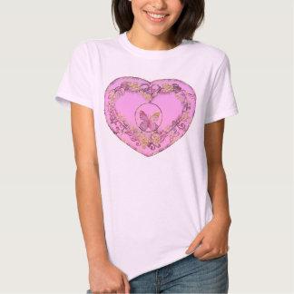 Borboleta e coração, camisetas