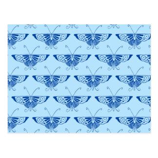 Borboleta estilizado de Deco - cobalto e azul Cartão Postal