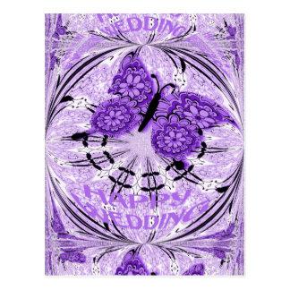 Borboleta feliz da violeta do casamento cartões postais