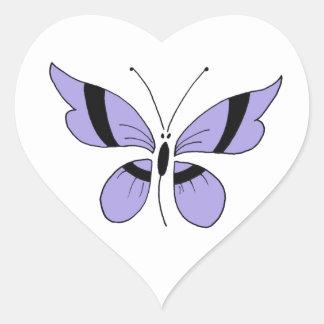 Borboleta roxa, etiqueta do coração adesivos em forma de corações