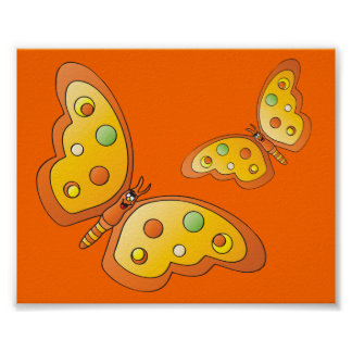 Borboletas bonitos da laranja dos desenhos pôster