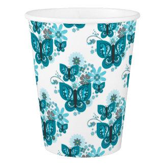 Borboletas & copo de papel (azul) das flores