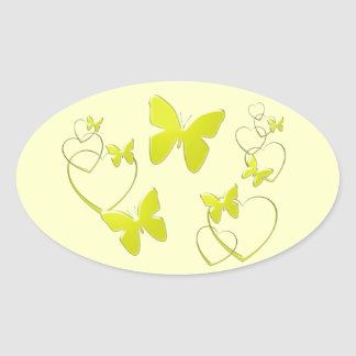 Borboletas e corações amarelos adesivo oval