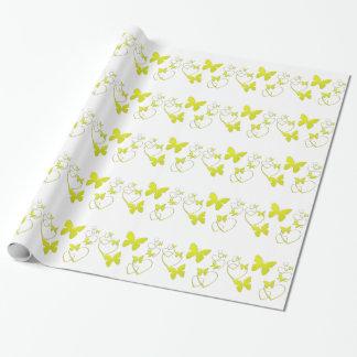 Borboletas e corações amarelos, envoltório de papel de presente