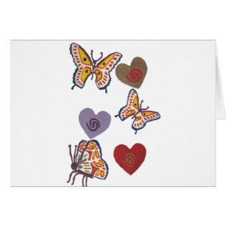 Borboletas e corações cartão comemorativo