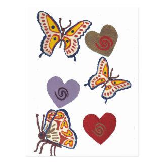 Borboletas e corações cartão postal