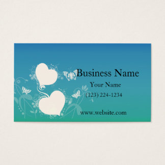 Borboletas e corações de flutuação em redemoinhos cartão de visitas