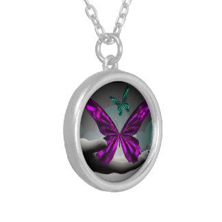 Borboletas místicos de néon colar com pendente redondo