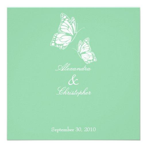 Borboletas simples do verde da hortelã que Wedding Convite