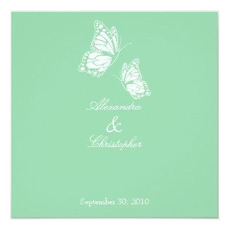 Borboletas simples do verde da hortelã que Wedding Convite Quadrado 13.35 X 13.35cm