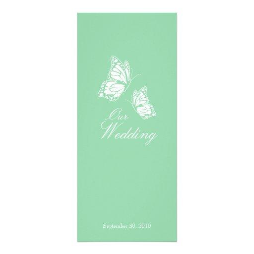 Borboletas verdes simples que Wedding o anúncio 2 Convites Personalizados