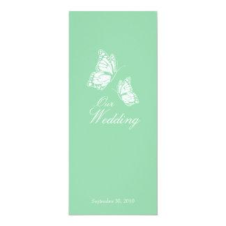 """Borboletas verdes simples que Wedding o anúncio 2 Convite 10.16"""" X 23.49cm"""