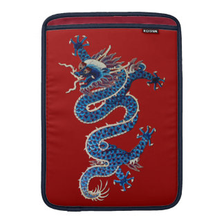 Bordado oriental azul do chinês da antiguidade dos bolsa de MacBook air