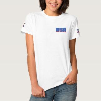 Bordado patriótico camiseta polo bordada feminina