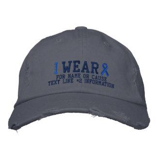 Bordado personalizado da consciência da fita azul boné bordado
