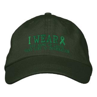 Bordado verde personalizado da consciência da fita boné bordado
