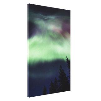 Borealis da Aurora em Lapland finlandês Impressão De Canvas Envolvida
