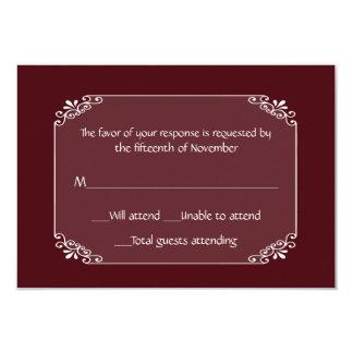 Borgonha chique multifacetada e cartão branco da convite 8.89 x 12.7cm