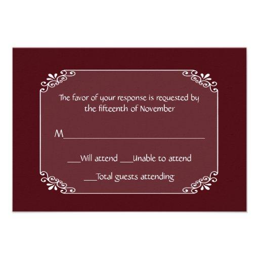 Borgonha chique multifacetada e cartão branco da r convites personalizado