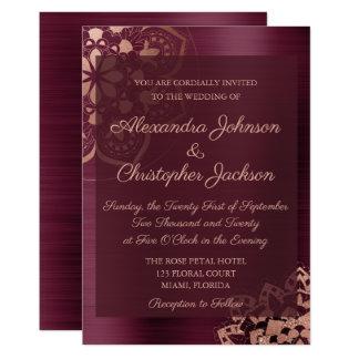Borgonha & convite cor-de-rosa do casamento da