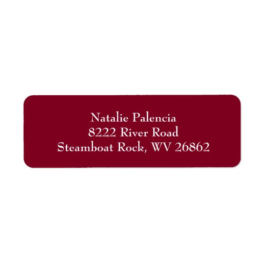 Borgonha & etiquetas de endereço do remetente etiqueta endereço de retorno