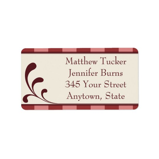 Borgonha & etiquetas de endereço feitas sob