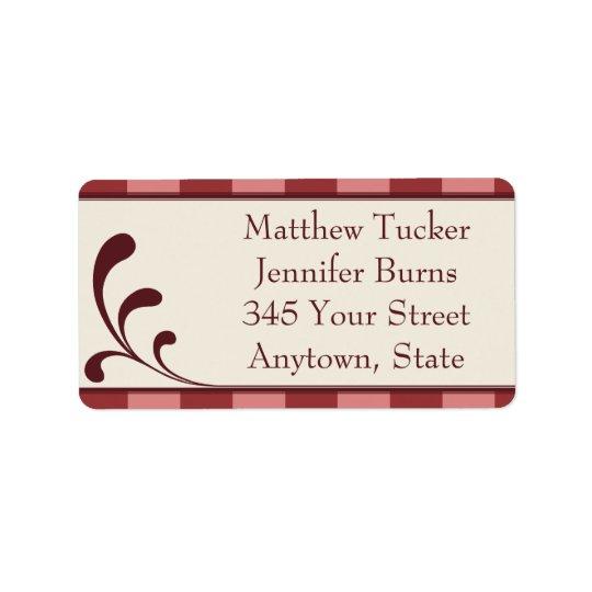Borgonha & etiquetas de endereço feitas sob etiqueta de endereço