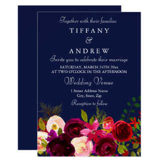 Borgonha floresce o convite floral do casamento do