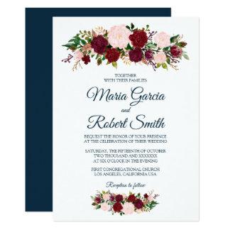 Borgonha Marsala floral - cartão de casamento azul