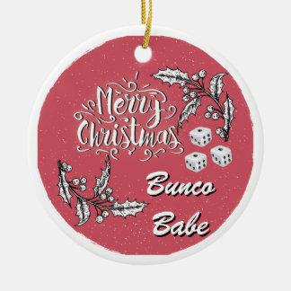 Borracho de Bunco do Feliz Natal Ornamento De Cerâmica Redondo