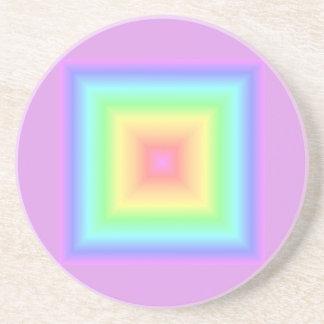 Borrão abstrato geométrico do arco-íris Pastel ret Porta Copos De Arenito