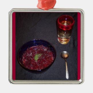 Borshch ucraniano da comida da alma da cozinha do ornamento quadrado cor prata