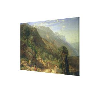 Bosques verde-oliva em Varenna, lago Como, Italia, Impressão De Canvas Esticada