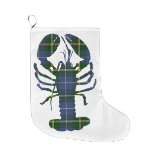 Bota De Natal Grande Meia do Natal da lagosta do Tartan de Nova Escócia