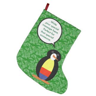 Bota De Natal Grande Sr. colombiano Pinguim do feriado