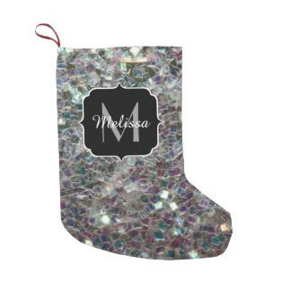 Bota De Natal Pequena Monograma de prata colorido Sparkly do mosaico