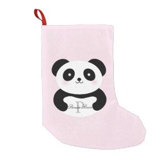Bota De Natal Pequena Monograma feminino bonito do urso de panda do bebê