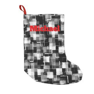 Bota De Natal Pequena Teste padrão cinzento branco preto de