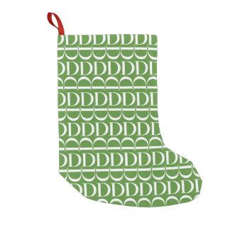 Bota De Natal Pequena Teste padrão inicial do monograma, letra D, branca