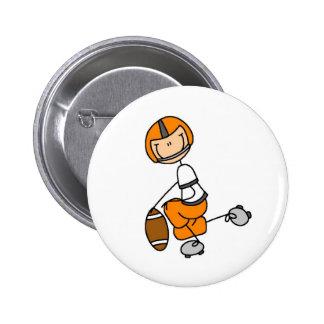 Botão alaranjado do jogador de futebol bóton redondo 5.08cm