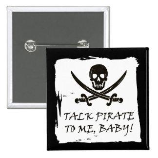 Botão alegre engraçado do pirata da conversa de bóton quadrado 5.08cm