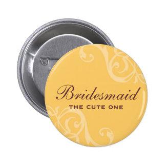 Botão amarelo do pino do crachá do nome de etiquet bóton redondo 5.08cm