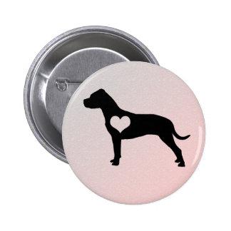 Botão americano do coração de Terrier de pitbull Bóton Redondo 5.08cm