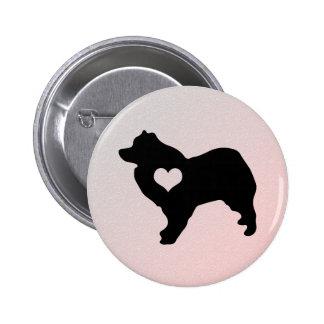 Botão americano do coração do cão Eskimo Bóton Redondo 5.08cm