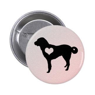 Botão anatólio do coração do cão de pastor bóton redondo 5.08cm